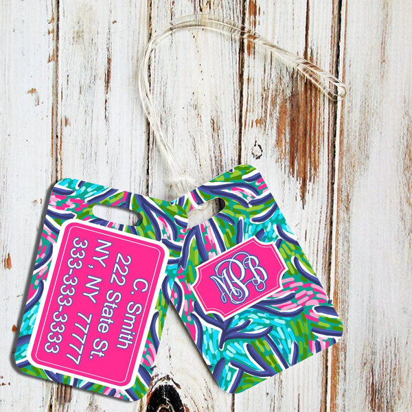 Blue tropical print luggage tag - Turquoise tropical print - Pretty pink and blue suitcase finder