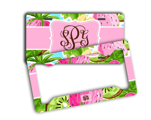 Pink and lime green tropical print - Summery strawberry license plate or frame
