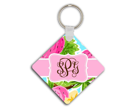 Pink and lime green tropical print - Summery strawberry monogram key chain