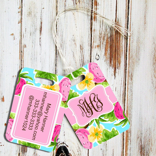 Pink and lime green tropical print luggage tag - Strawberry tote bag tag with monogram