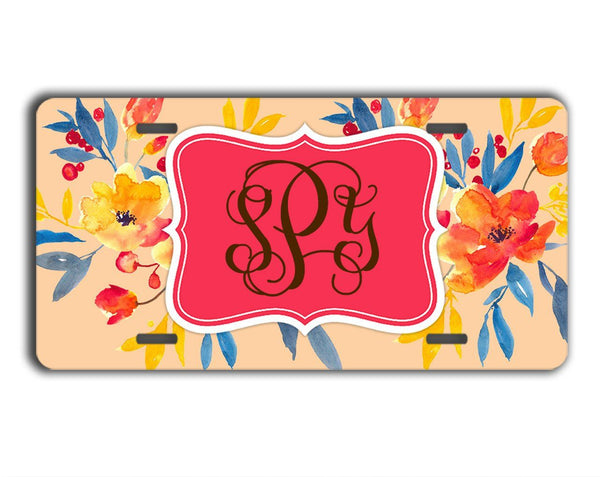 Coral car coaster with flowers - Personalized car decoration - Decorate your space