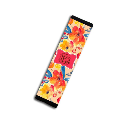 Coral seat belt strap cover with monogram - Pretty car decor - Floral auto decoration