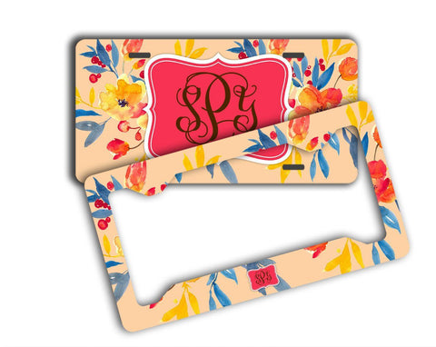Coral car accessories - Monogrammed license plate and frame - Pretty car decor