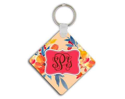 Coral key chain with flowers - Monogrammed car decor - Inexpensive gift for her
