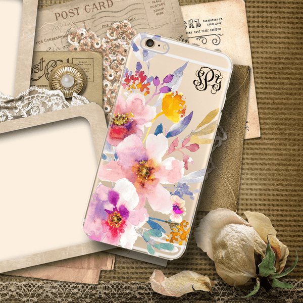 Pink floral clear iPhone case with design, Customizable gifts for women