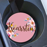 Pink car coaster with initials - Floral car cup holder coaster - Monogrammed car decor