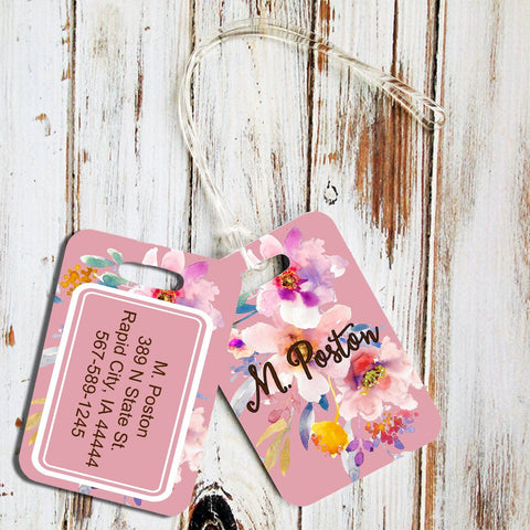 Pink tote bag tag with initials - Custom printed luggage tag - Floral suitcase identification