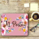 Monogrammed office decor - Pink and green flowers with chevron - Pretty mouse pad