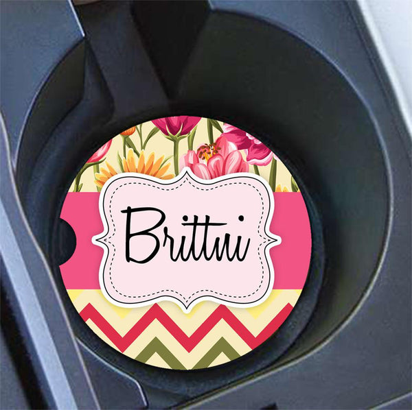Pretty monogrammed car mirror charm - Chevron car decor- Personalised gifts for granddaughter