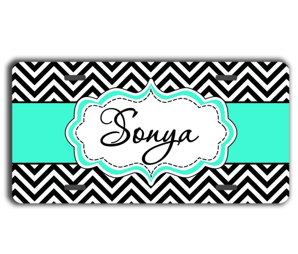 Car sticker design name -  Preppy Car Sticker With Name Turquoise Car Decor Black And White Chevron With Blue
