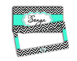Preppy car coaster with name - Turquoise car decor- Black and white chevron with blue