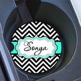 Monogrammed car cup holder coaster with chevron
