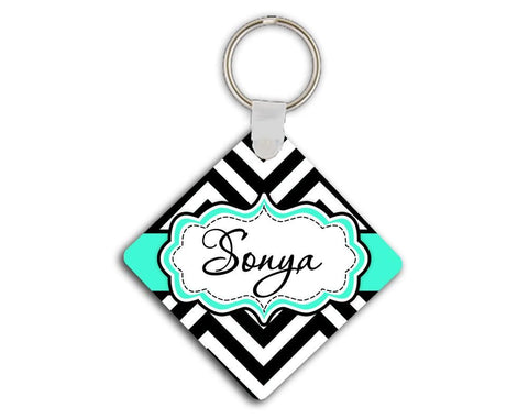Monogrammed key chain with chevron