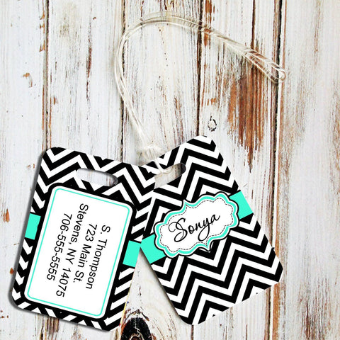 Monogrammed luggage tag with chevron