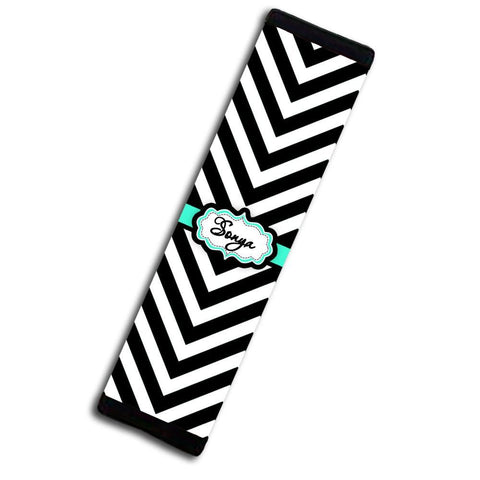 Monogrammed padded seat belt cover with chevron