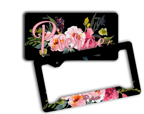 Floral front license plate with monogram - Black with pink flowers