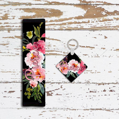 Pink and black floral key chain with monogram - Gift for new drivers