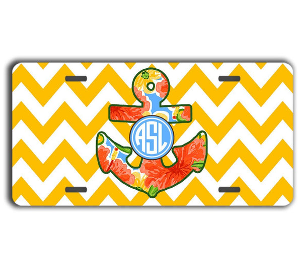 Chevron personalized car coaster  - Floral anchor in yellow and orange