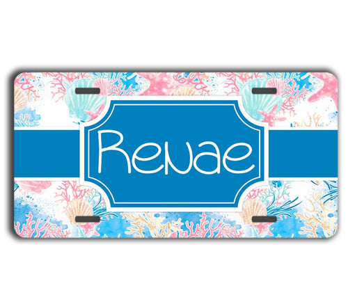 Beach themed monogrammed license plate - Blue auto accessories
