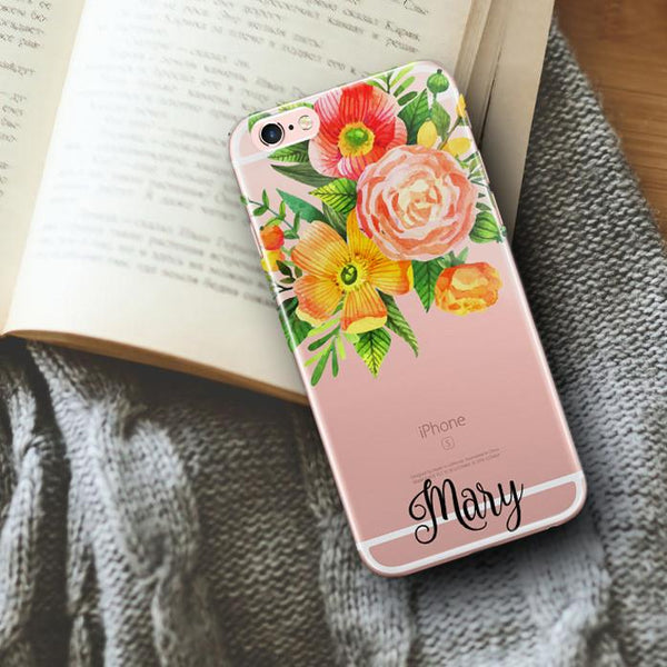 Clear iPhone case - Orange and coral flowers
