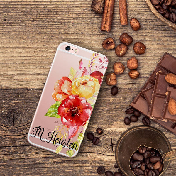 Monogrammed iPhone case with clear back - Red roses - Gift for women
