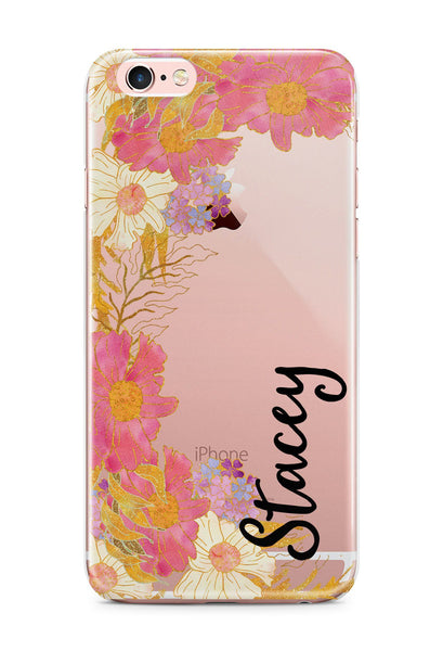 Personalized iPhone case with rubber bumpers - Pink flowers - Gifts for Her