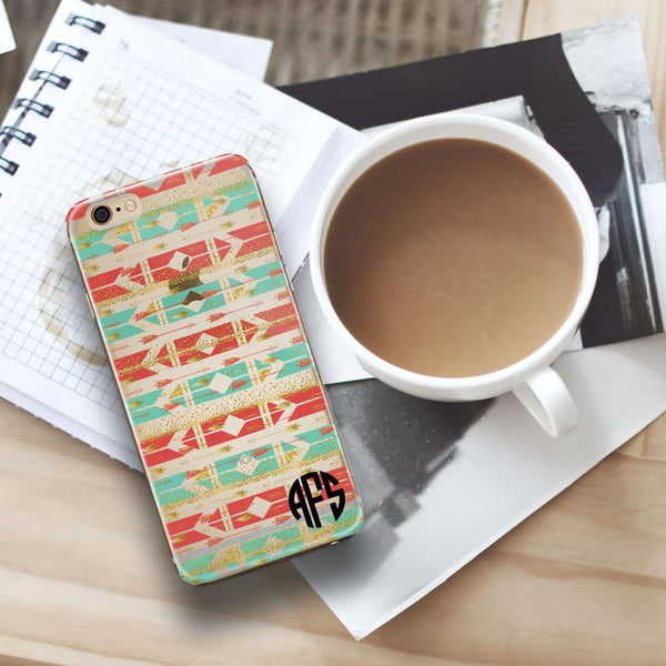 Aztec iPhone clear case with monogram - Coral and turquoise arrows with faux glitter