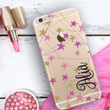Faux glitter iPhone clear case with monogram -  Purple stars - Gift for teens, Geometric