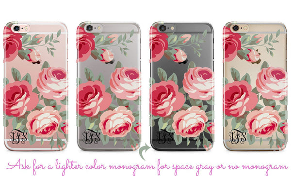 Clear iPhone case with design, Soft pink roses - Pretty gift for grandmothers