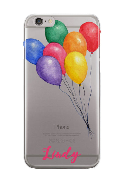 iPhone clear case with design,  Pastel balloons with monogram - Gifts for tweens