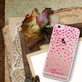Confetti hearts iPhone clear case with monogram - Pink watercolor - For teens