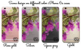 Purple iPhone clear case with monogram - Wisteria flowers watercolor