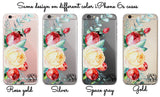 Pretty clear iPhone clear case monogrammed - Red and white roses - For Her