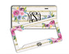 Faux glitter license plate with initials - Pink and blue flowers - Monogrammed gifts for her