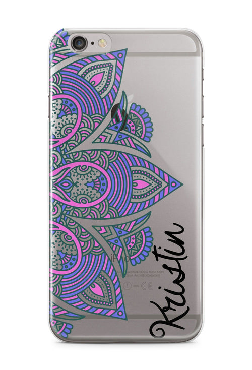 Purple mandala iPhone case - Clear back with design - Gifts for teenage girls
