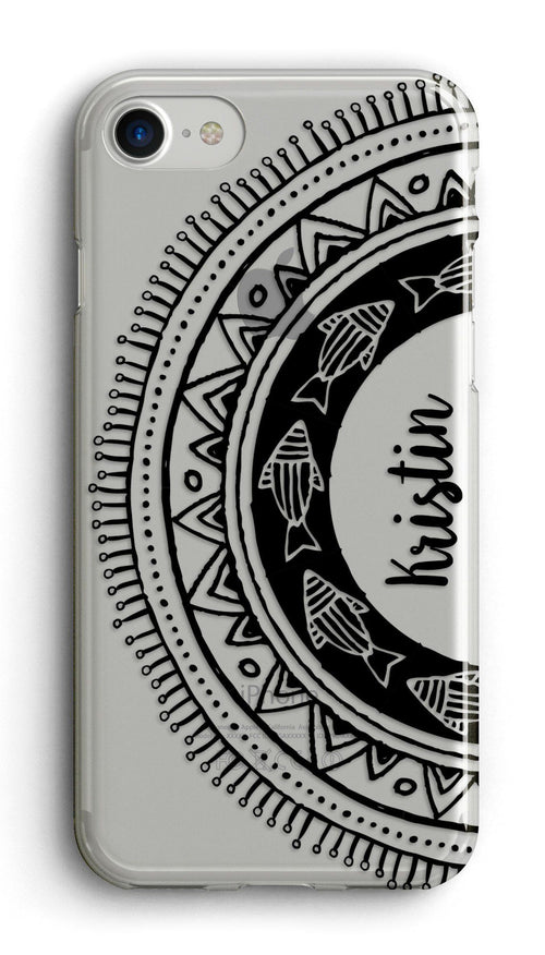 Black mandala iPhone case - Transparent with design - Unisex phone cases