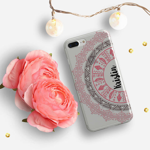 Pretty mandala iPhone case clear - Hand drawn design - Gift for teenaged daughter