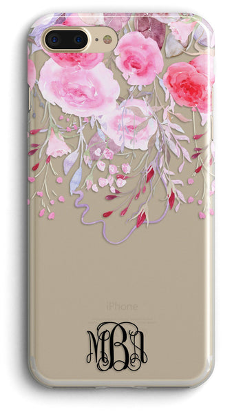 Pretty pink iPhone case - Clear with design - Gifts for wife, Floral