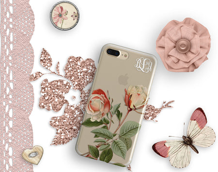 Spring fashion iPhone case clear with design  - Soft pink roses - Gift for mom