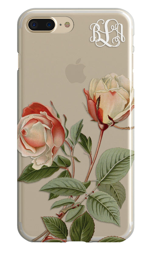 Vintage roses iPhone case with clear back - Pretty pink - Gift for mother