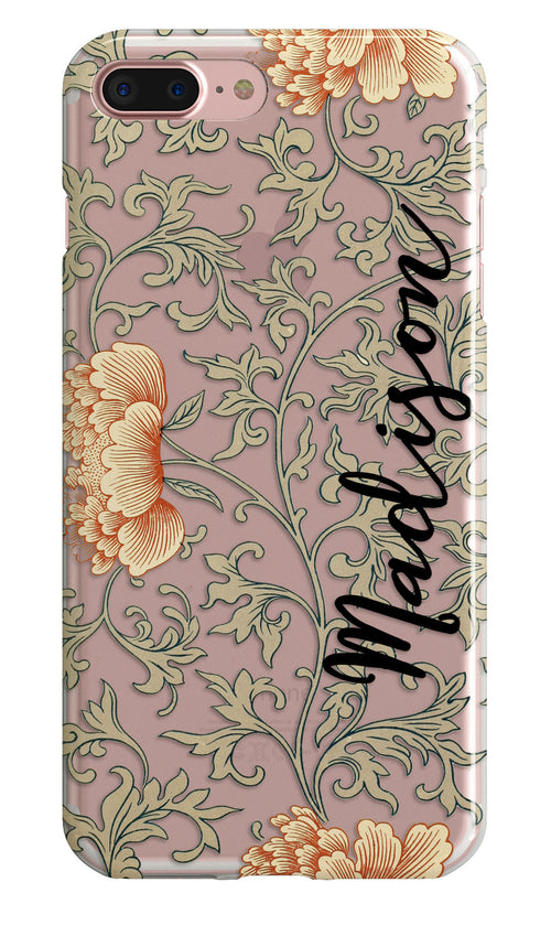 Vintage flowers iPhone case with clear bumpers - Orange and gray