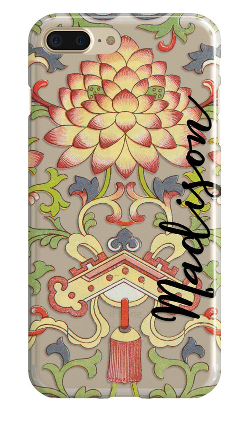 Antique oriental print iPhone clear case with design  - Red, green and blue