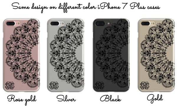Black lace clear iPhone case with design  - Unusual monogrammed gift for her