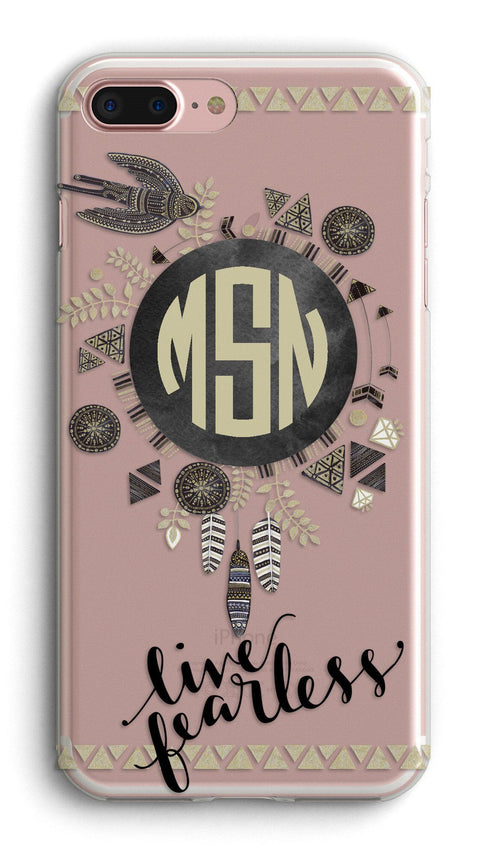 Boho clear iPhone case with design  - Live Fearless - Aztec motivs monogrammed