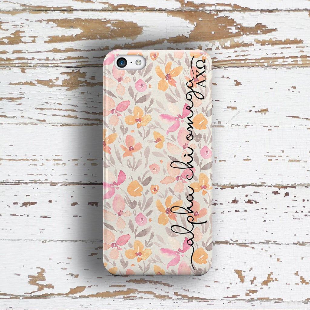 Alpha Chi Omega sorority - iPhone case with pink floral print