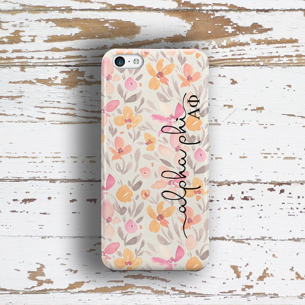 Alpha Phi sorority - iPhone case with pink floral print