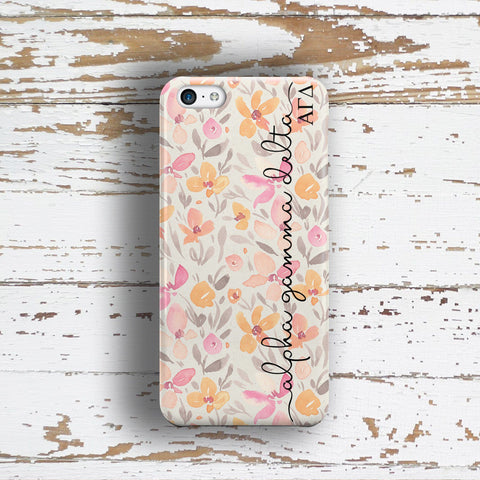 Alpha Gamma Delta sorority - iPhone case with pink floral print
