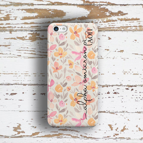 Alpha Omicron Pi sorority - iPhone case with pink floral print - AOPi