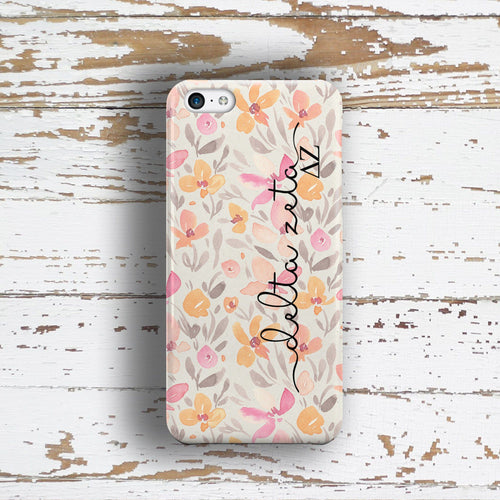 Delta Zeta sorority - iPhone case with pink floral print - DZ