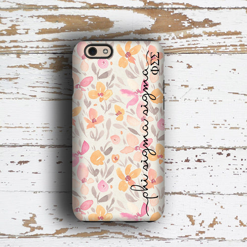 Phi Sigma Sigma sorority - iPhone case with pink floral print - PhiSig